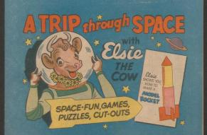 Cover for a children's activity book featuring a color illustration of a cow in a spacesuit, with space-themed objects in the background.