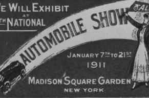 Black and white advertisement for an automobile show featuring an automobile and a woman holding a pennant.