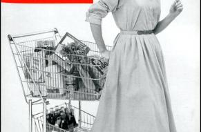 Magazine cover featuring a black and white photograph of a woman pulling a shopping cart and holding a popsicle