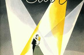 Image featuring an illustration of a couple embracing in front of an audience, lit by spotlights.