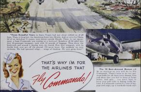 Magazine ad with color illustrations for the Curtiss Commando airliner.