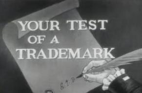 "Still from ""Your Test of a Trademark"" DuPont commercial, 1953, Hagley Digital Archives."