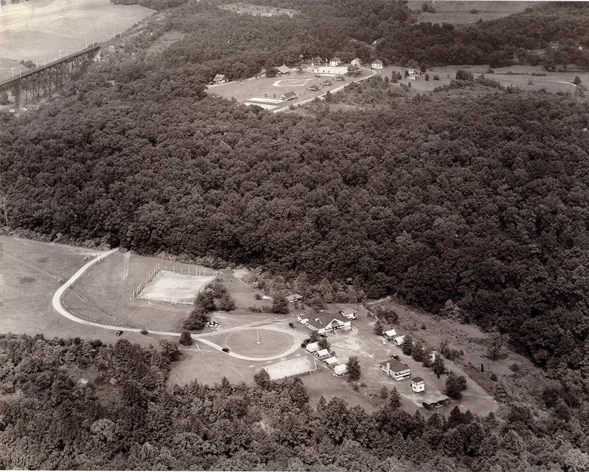 Aerial view of the YMCA grounds