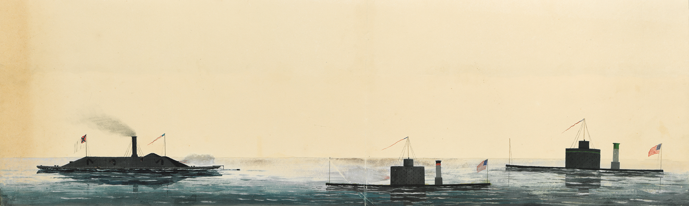 Civil War naval art of ironclad ships during an engagement by Xanthus Smith